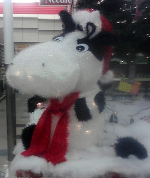 Cow Christmas decoration at Michael's - December 2010