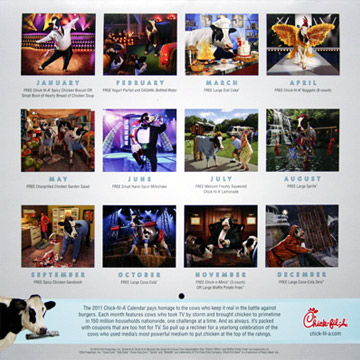 Chick-fil-A 2011 cow calendar - The Cows of Reality TV