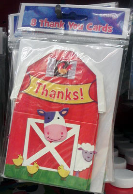 Daily cow of the day at Party City - Cow thank-you cards