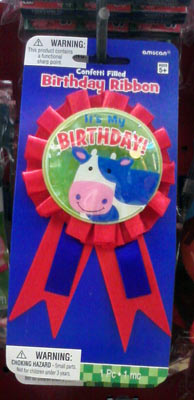 Daily cow of the day at Party City - Cow birthday ribbon