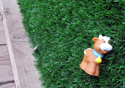 Fisher Price Little People cow in our backyard