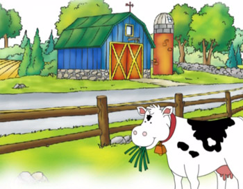 Caillou road trip video with cows