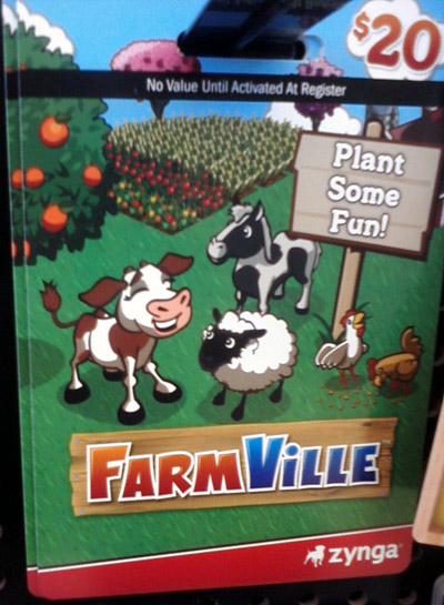 Facebook Farmville gift card with cows