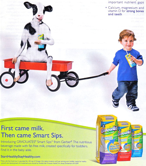 Gerber Graduates Smart Sips toddler milk - with a cow!