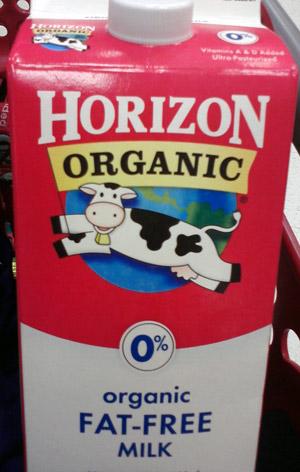 Horizon organic milk with jumping cow