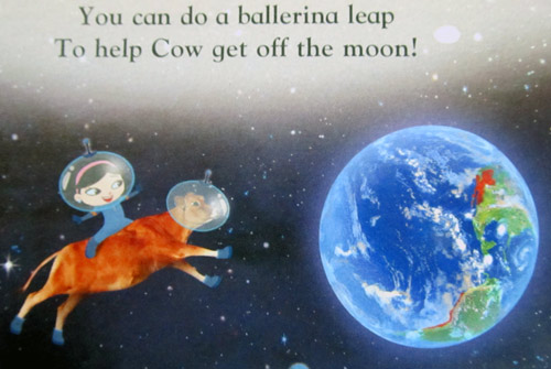 June's shoes - cow #4 jumping off the moon