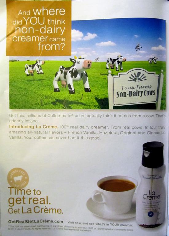 La Creme creamer ad with non-dairy cows