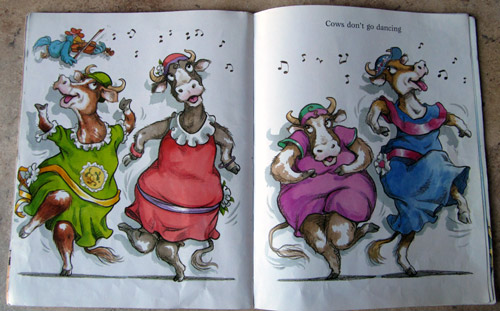 "Dancing cows in ""Dogs don't wear sneakers"" by Laura Numeroff"