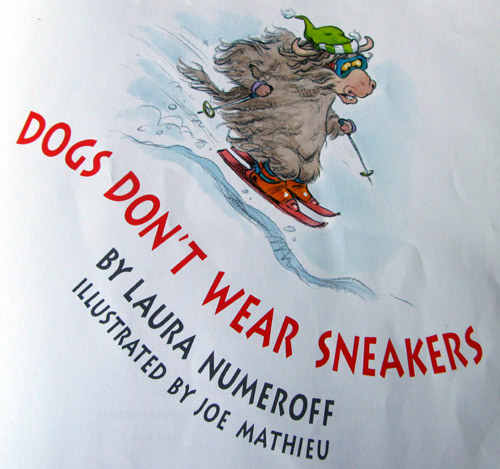 "Skiing yak inside ""Dogs don't wear sneakers"" book"