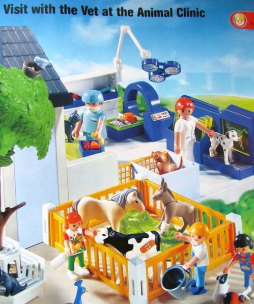 Playmobil vet clinic with cow