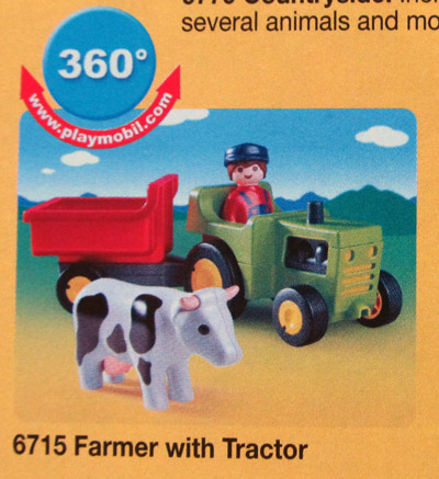 Playmobil farmer with tractor and cow