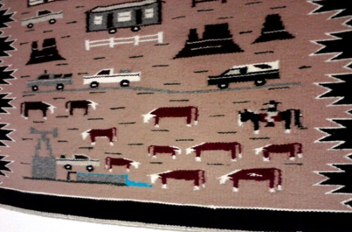 Grazing cows on wall rug