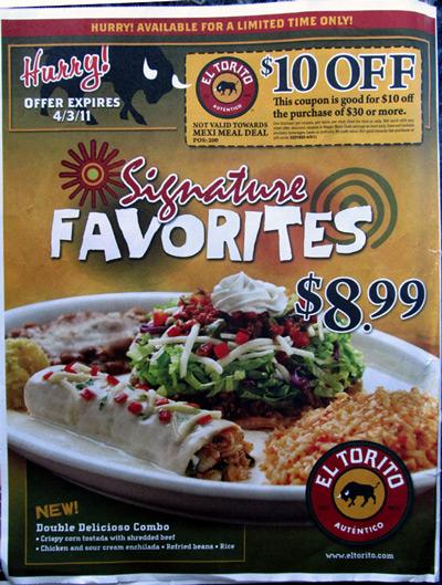 El Torito ad and coupon