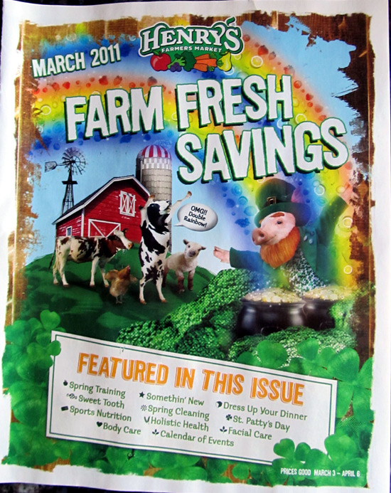Henry's Marketplace March 2011 flyer with cows and barn friends
