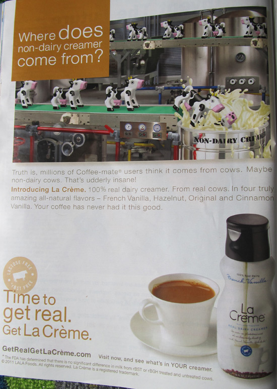 New ad for La Crème real dairy creamer with more fake cows