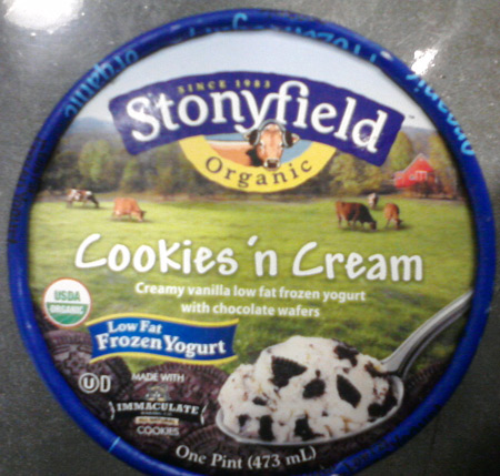 Stonyfield organic ice cream with frozen cow