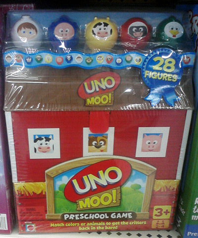Cows and other farm animals on Uno Moo!