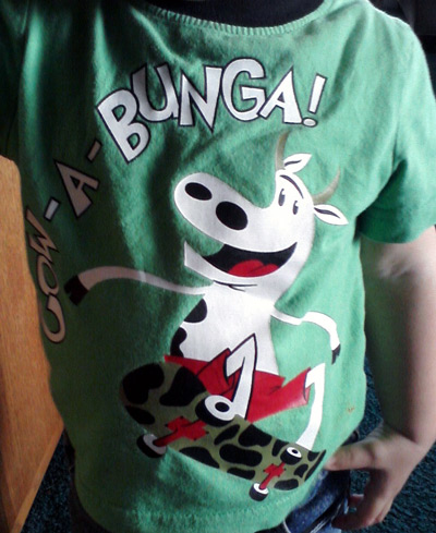 Cow-a-bunga t-shirt with cow on skateboard