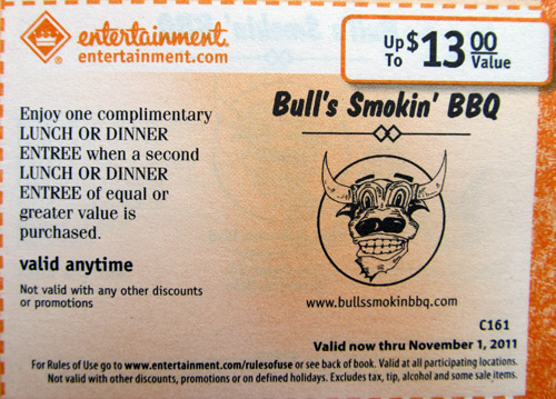 San Diego Bull's Smokin' BBQ restaurant with smiling bull logo