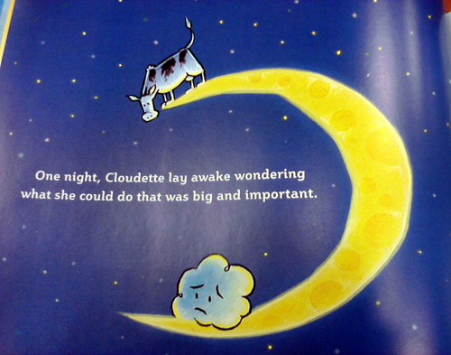 Cow on the moon in children's book Cloudette