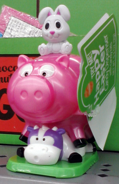 Easter bunny on top of pig, on top of cow