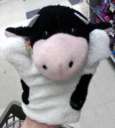 $1 cow hand puppet