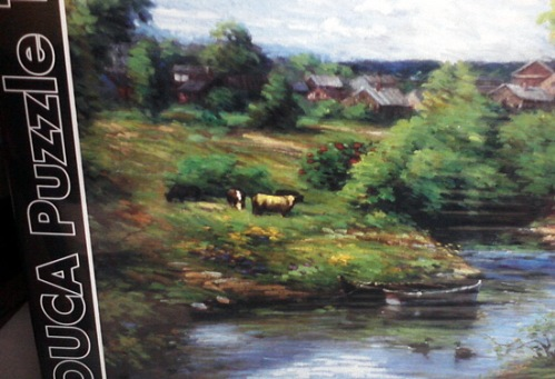 Grazing cows on puzzle