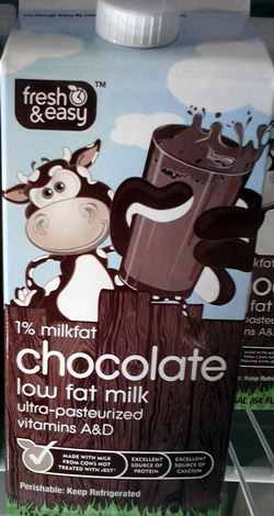 Fresh & Easy chocolate milk with happy cow
