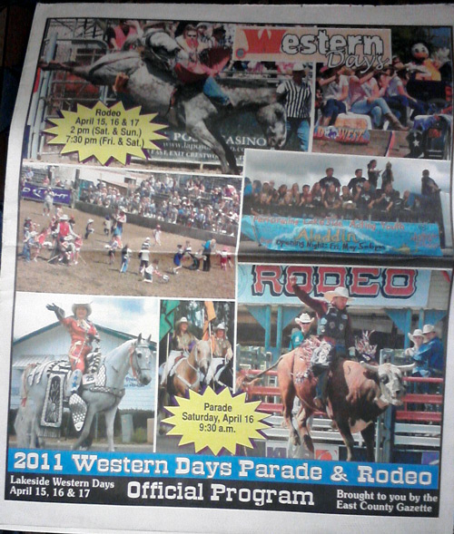 East County Gazette with rodeo ad