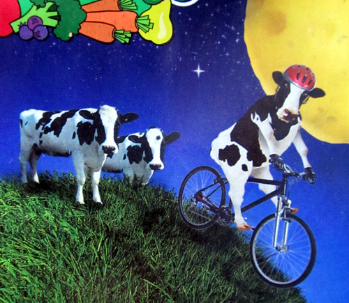 Henry's April 2011 flyer with cows riding bikes