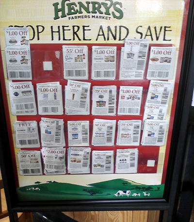Henry's Marketplace coupon stand