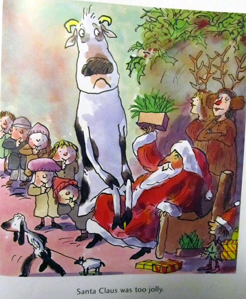 Misery moo sitting on Santa Claus' lap