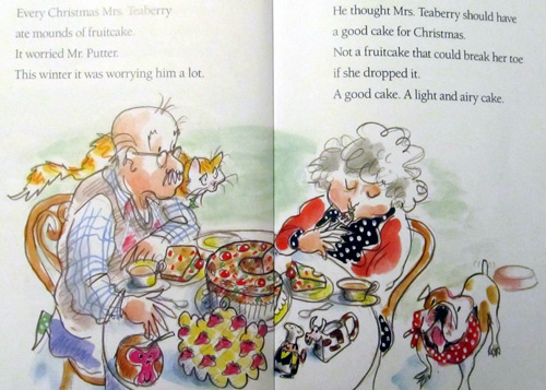 Mr Putter and Tabby Bake the Cake book - cow creamer on the table