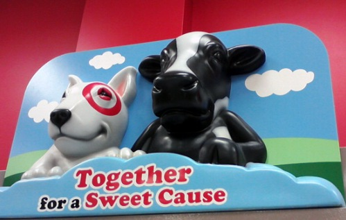 Target's smiling Spot with his new friend the cow