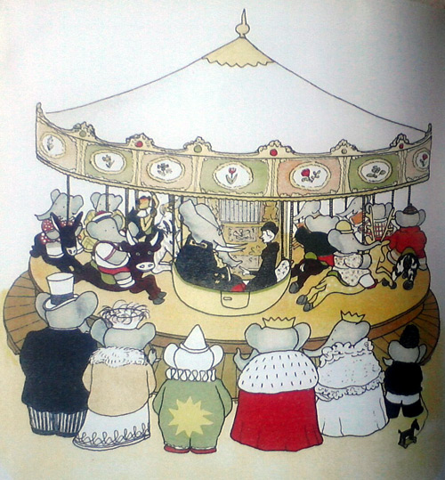 Old carousel in Babar the King book