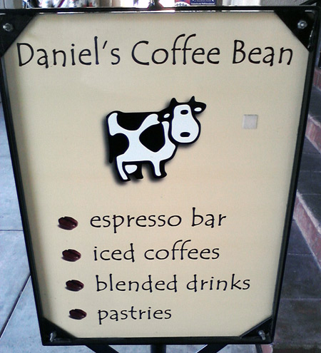 San Diego Balboa Park - Daniel's Coffee Bean shop with cyclop cow