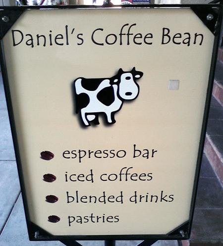 San Diego Balboa Park - Daniel's Coffee Bean shop with cyclop cow