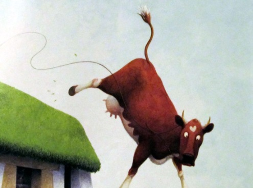 There's a cow off the roof!