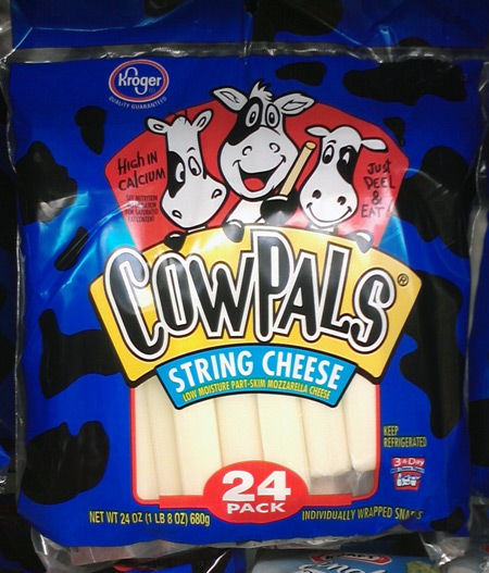 Cows on cheese stick package for Kroger