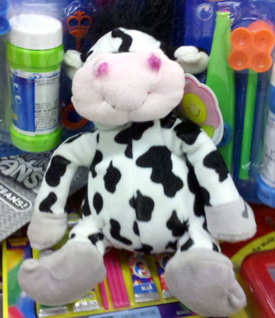 Plush cow at Food4Less