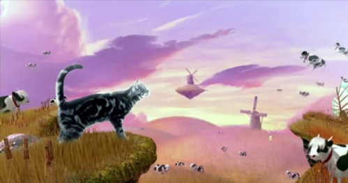 Flying cows in the Friskies cat food commercial - Adventureland