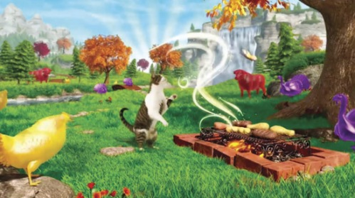 Red cow in Friskies cat commercial - Blender Grill