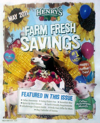 Henry's Marketplace May 2011 flyer with Mother's day cow