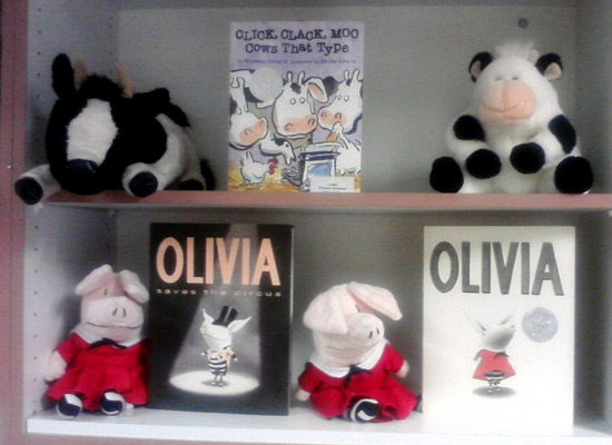 Cows and pigs on school library shelves