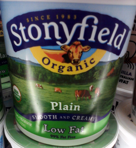 Stonyfield organic yogurt with cows