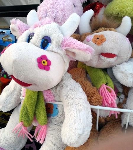 Stuffed cows at the town fair