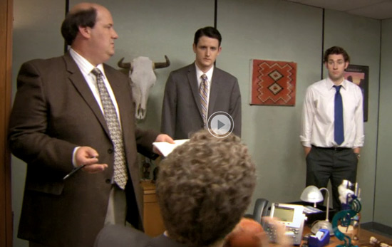 Cow skull decoration on NBC's The Office wall