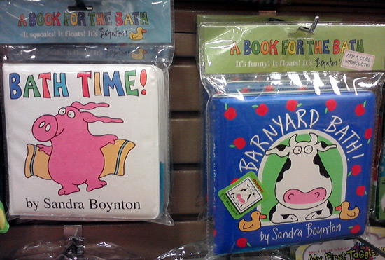 Sandra Boynton cow bath books with cows and pigs
