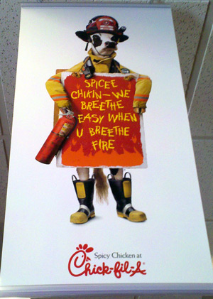 Chickfil-A cow firefighter at Chickfil-A restaurant