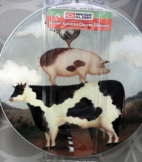 Stove burner covers with cow, pig and rooster